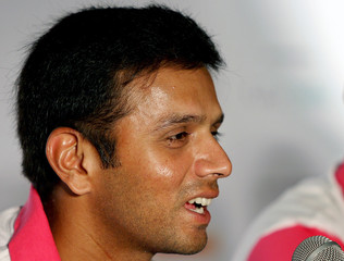 Indian cricket captain Dravid speaks during news conference in New Delhi
