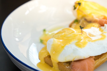 Egg Benedict with smoked salmon and fresh Hollandaise sauce