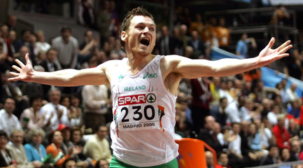 Irish runner Gillick celebrates victory during 400m final at European Indoor Athletics Championships.