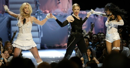 (L-R) Britney Spears, Madonna and Christina Aguilera open the 2003 MTV Video Music Awards at the Rad..