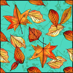 Autumn leaves on teal background, seamless watercolor pattern