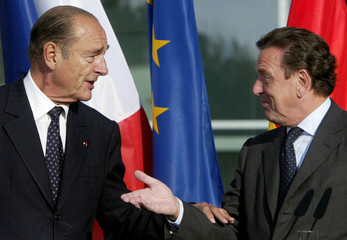 FRENCH PRESIDENT CHIRAC AND GERMAN CHANCELLOR SCHROEDER ADDRESS THE MEDIA AFTER TALKS IN BERLIN.