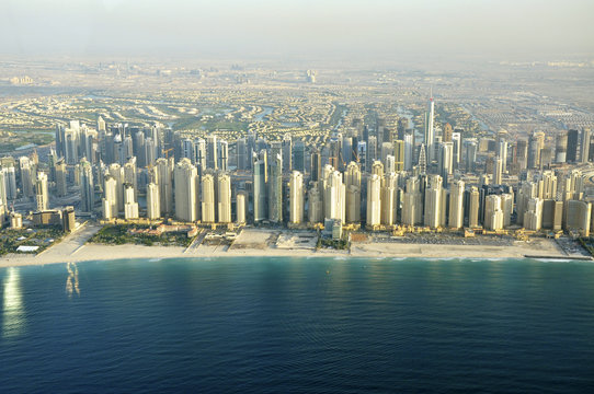 An aerial view of the Dubai Marina skyline is seen in Dubai