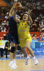 Akrzeski of Brazil goes for lay-up as Kim of South Korea tries to block during women's basketball game at Beijing 2008 Olympic Games