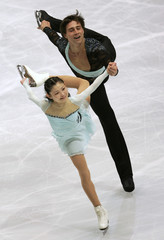 Kawaguchi and Smirnov from Russia perform during pairs short program event at World Figure Skating Championships in Tokyo