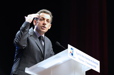 France's President Sarkozy delivers a speech to announce measures to help people from poor neighbourhoods get into prestigious universities
