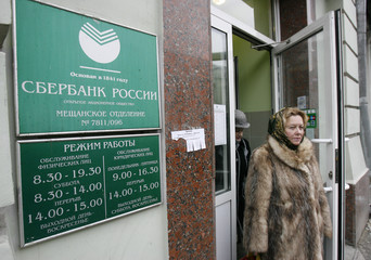 A customer leaves the local office of Russia's Sberbank in central Moscow