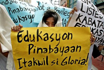 Filipino student protests against the state education system on the first day of classes in Manila.