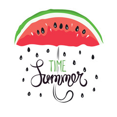 Summer rain -- funny hand drawing calligraphy / Vector background with slices of watermelon