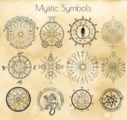 Big set with mystic symbols on textured background.  Hand drawn vector illustration