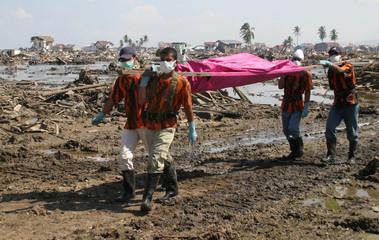 Volunteer workers carry the body of a tsunami victim in the tsunami-devastated city of Banda Aceh.
