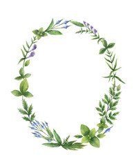 Watercolor hand painted oval wreath with herbs and spices.