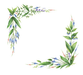 Watercolor hand painted rectangular wreaths with herbs and spices.