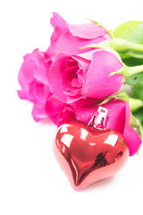 valentine`s day with roses and gift on white