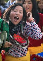 A Kirant girl wearing traditional ornaments takes part in the Sakela Udhauli festival in Kathmandu.