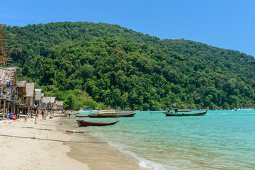 Tropical island beach and clear blue lagoon water with blue sky at khosurin  Island Phang Nga Province South of Thailand