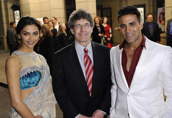 """Actress Deepika Padukone, Alan F. Horn of Warner Bros. Entertainment Inc. and Actor Akshay Kumar arrive at the premiere of the film """"Chandni Chowk to China"""" in Burbank, California"""