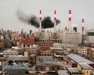 power plant with black smoke