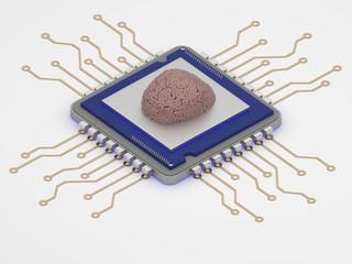smart technology brain on cpu 3d render