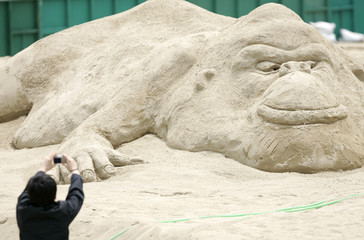 A man takes pictures of a sculpture of a gorilla at a sand sculpture exhibition to promote the FIVB Beach Volleyball World Tour in Seoul