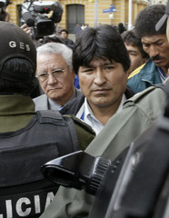 Coca grower leader Evo Morales arrives at Government Palace.