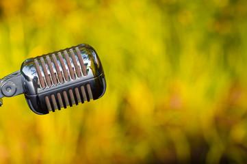 beautiful retro microphone closeup