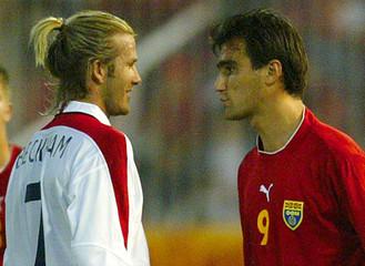 MACEDONIA'S HRISTOV CONFRONTS ENGLAND'S BECKHAM IN EURO 2004 QUALIFIERIN SKOPJE.