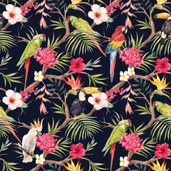 Watercolor tropical floral pattern