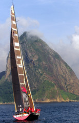 With Brazil's famous Sugar Loaf mountain in the background, the Norwegian yacht Djuice Dragons races..