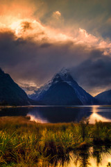 Sunset Clouds over Mitre Peak in Milford Sound