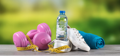 Fitness equipment on blurred background