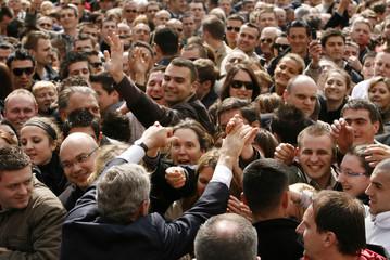 U.S. President Bush greets Croatians after speaking in St. Mark's Square in Zagreb