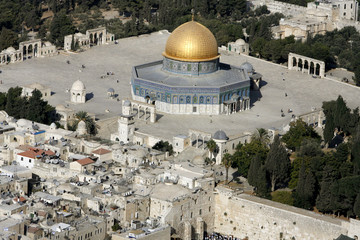 An aerial view of the old city of Jerusalem with the Dome of the Rock compound in the middle