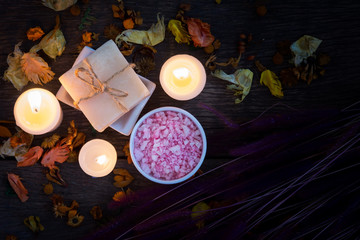 Spa still life with aromatic candles,top view