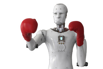 android robot wearing red boxing gloves