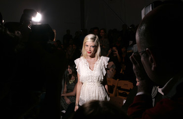 Actress Tori Spelling arrives for the Rebecca Taylor collection show at New York Fashion Week in New York