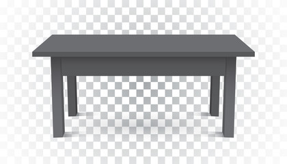 Vector 3d table for object presentation. Empty dark top table on isolated background.