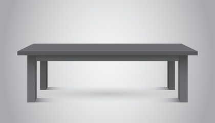 Vector 3d table for object presentation. Empty dark top table on gray background.