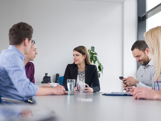 Business Team At A Meeting at modern office building