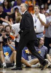 Phoenix Suns head coach Mike D'Antoni walks off the court after being ejected late in the fourth quarter of Game 4 of their NBA first round playoff series against the San Antonio Spurs in Phoenix