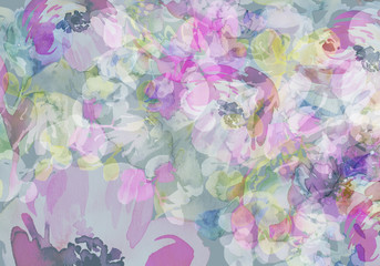 Abstract watercolor background with flowers handmade greeting cards.
