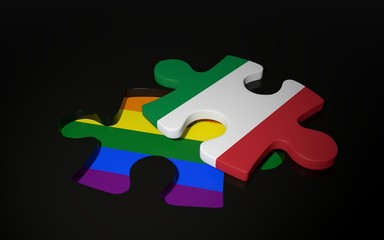 LGBT and Italy Flag like a puzzle piece.