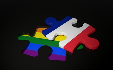 LGBT and France Flag like a puzzle piece.