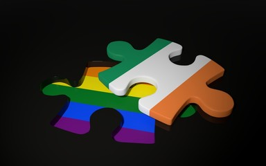 LGBT and Ireland Flag like a puzzle piece.