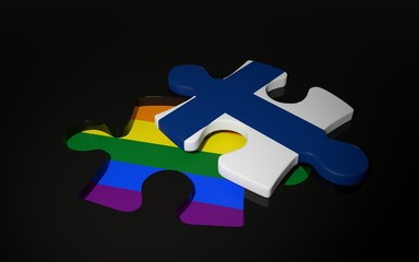 LGBT and Finland Flag like a puzzle piece.