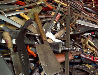 Police handout picture shows knives handed in during nationwide knife amnesty in Manchester