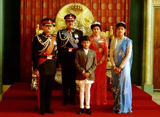 NEPAL'S ROYAL FAMILY AT CROWN PRINCE DIPENDRA COMING OF AGE CEREMONY AT THE ROYAL PALACE.