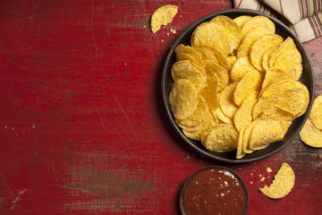 Mexican nachos chips with salsa sauce