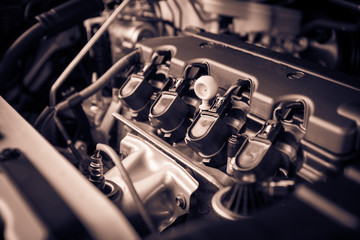 The powerful engine of a car. Internal design of engine with combustion and valve, dark tone