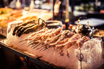Fresh frogs at a street food stall in Kuala Lumpur, Malaysia
